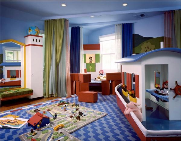 идеи за детска стая за момчета с кораб в синьо