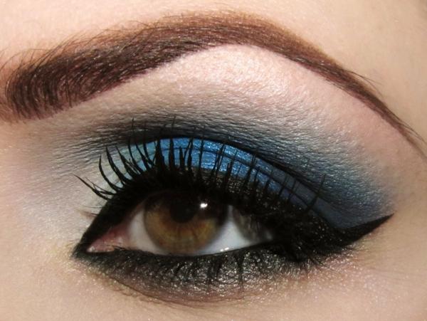 идеи за грим за бал сини сенки за очи