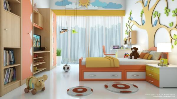 идеи детска стая с декорация дърво на стената