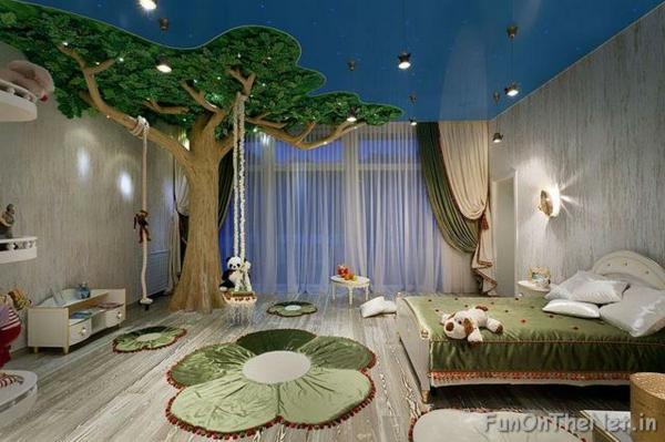 идеи за детска стая с декорация дърво