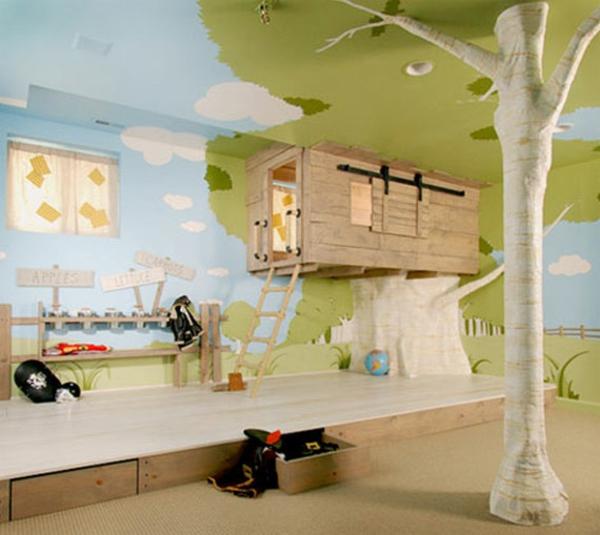 идеи за детска стая с дървена къща за игра