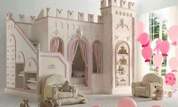 идеи детска стая за момичета замък бяло розово