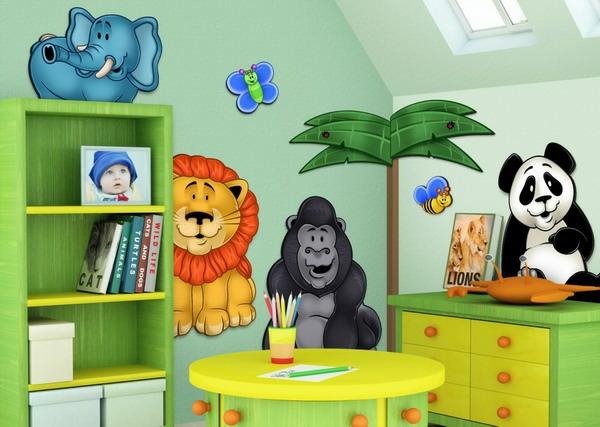 идеи за детска стая с рисунки на животни по стената