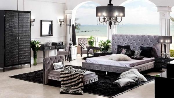 luks v spalniata v sivo i cherno izpakvasht chrez ekstravaganten polilei