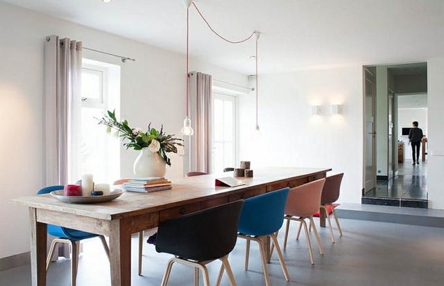 moderna trapezariq s modern stolove darvena masa