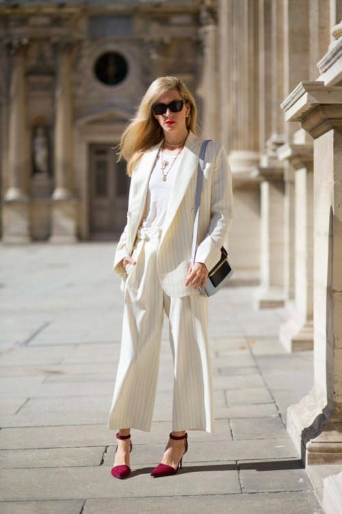 стрийт стайл бял костюм