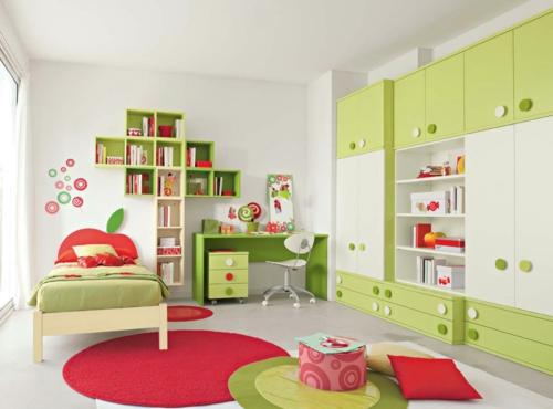 стикери за стена на детска стая интериор червено зелено