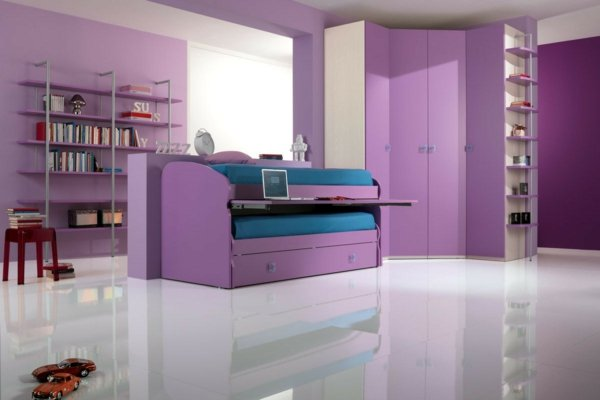 детски стаи в розово и лилаво интериорен дизайн бял под