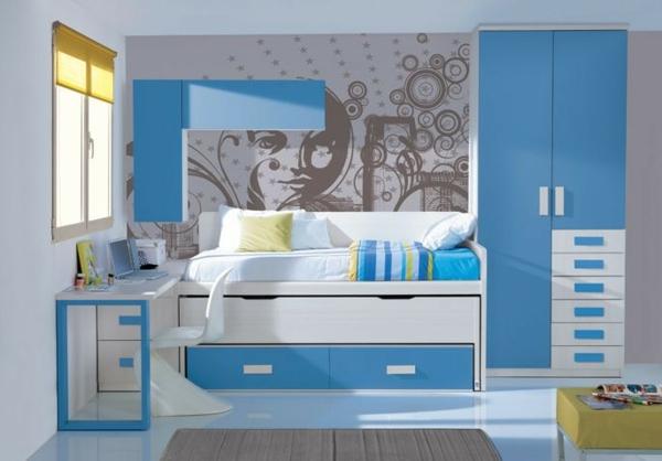 детска стая синьо за момчета рисунка стена