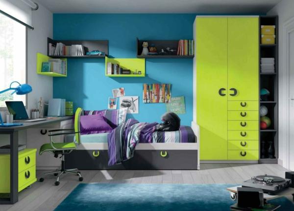 детска стая синьо зелено за момчета дизайн интериор