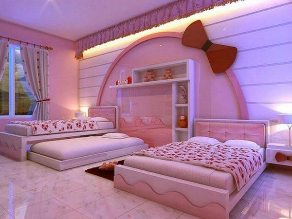 детски стаи в розово лилаво интериорен дизайн хелоу кити