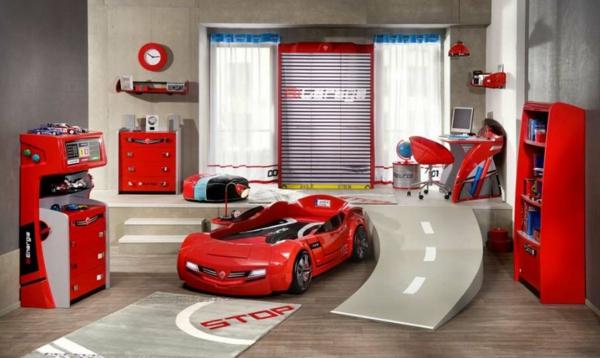 детска стая за момчета кола писта обзавеждане идея