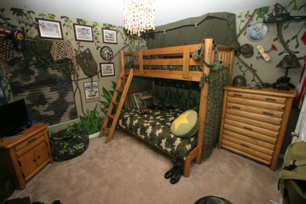 детска стая момчета дървени мебели двуетажно легло