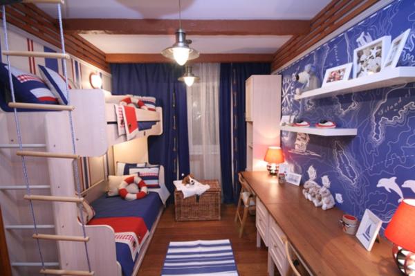 детска стая за момчета морски интериор двуетажно легло