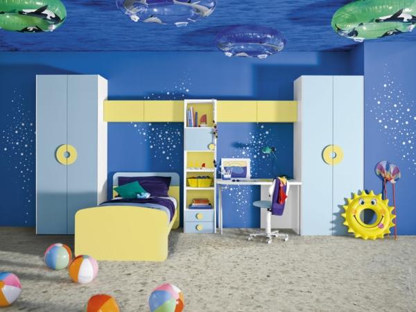 детска стая за момчета морски дизайн синьо жълто