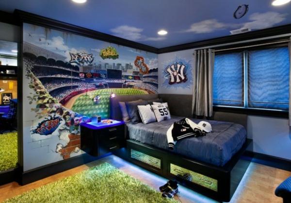 детска стая за момчета идея осветление под леглото