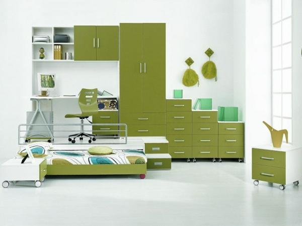 детска стая момчета зелено бяло интериорен дизайн