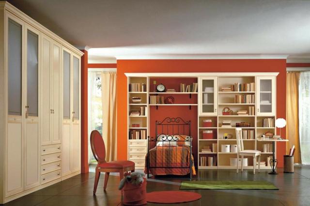идеи за обзавеждане на детска стая момиче дизайн червен цвят