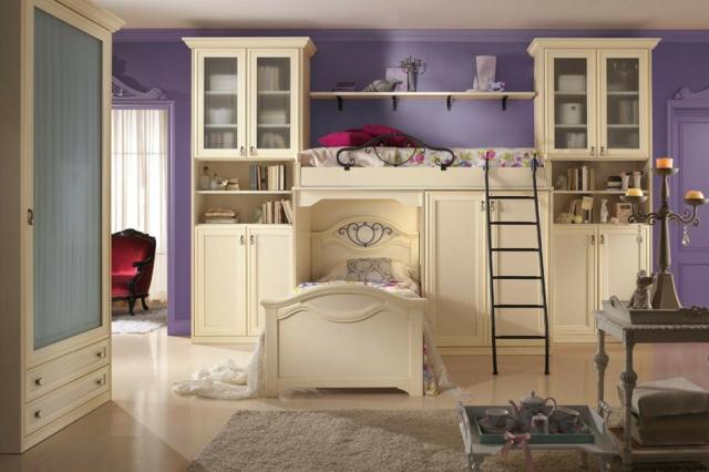 идеи за обзавеждане на детска стая момиче лилав цвят стени