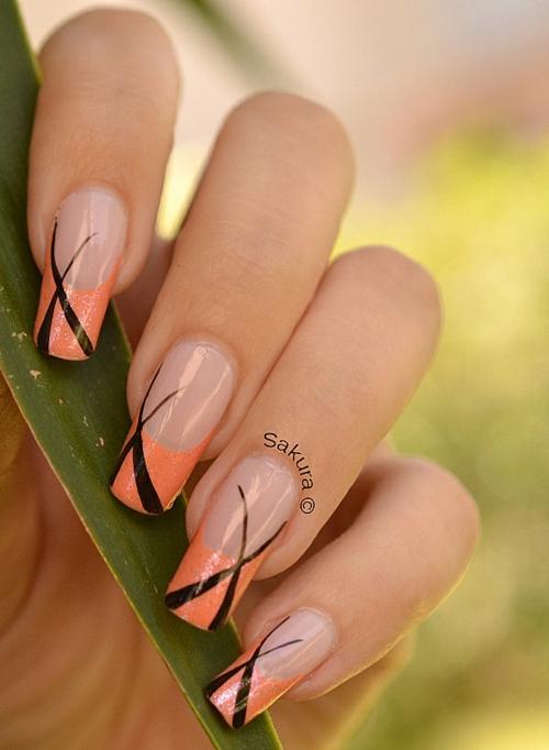 frenski manikiur oranjevo cherno linii