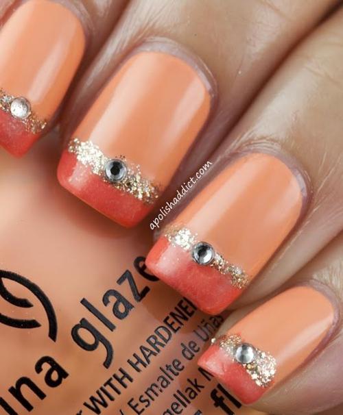 frenski manikiur oranjevo kamani