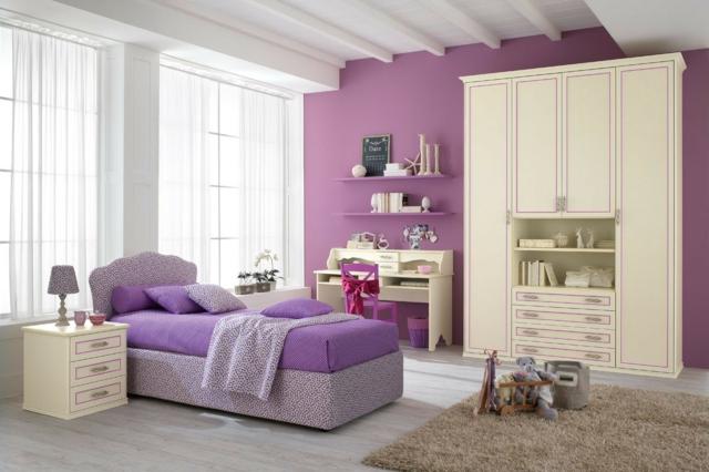идеи за обзавеждане на детска стая момиче интериор бяло лилаво