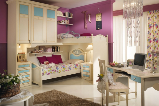идеи за обзавеждане на детска стая за момиче лилави стени