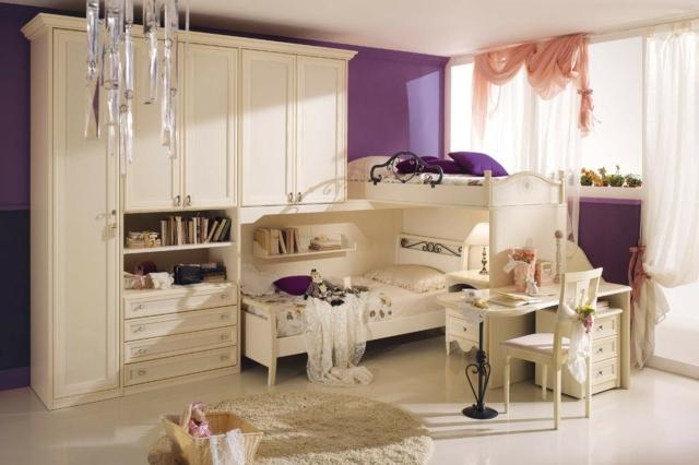 идеи за обзавеждане на детска стая момиче бели мебели лилави стени