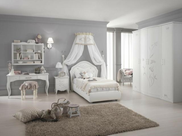 идеи за обзавеждане на детска стая момиче бял цвят балдахин
