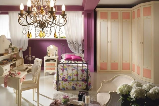 идеи за обзавеждане на детска стая момиче лилави стени бели мебели
