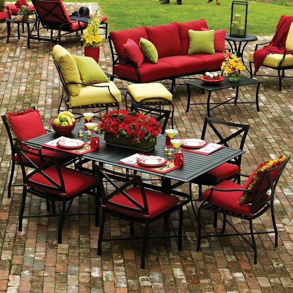 kak da izberem gradinski mebeli cherveni masi stolove divani