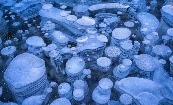 kanada zamraznali ezera leden -baloni