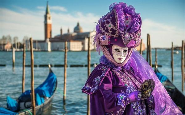 karnaval veneciq lilav kostium maska shapka