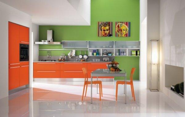 moderna kuhnq zeleno oranjevo bqlo