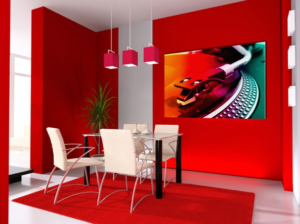 moderni beli stolove chervena trapezariq