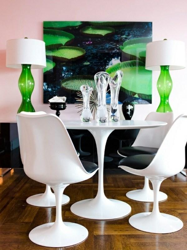 stolove moderni beli za trapezariq bqla masa zeleni akcenti