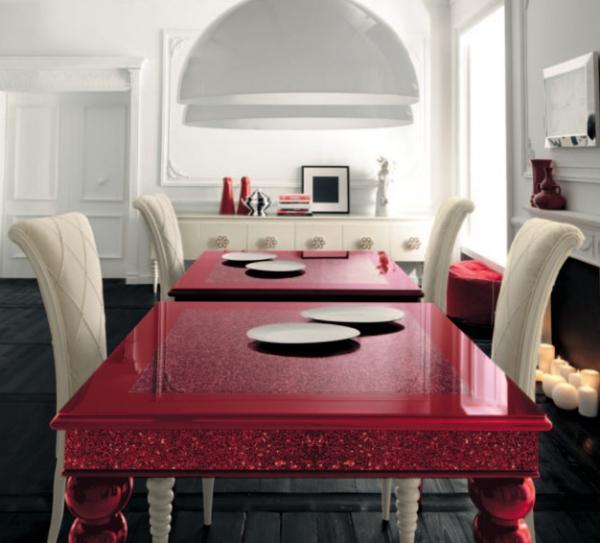 trapezariq moderni beli stolove chervena masa kamina
