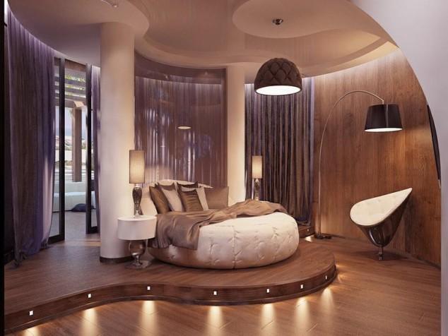 luksozni moderni spalni kraglo leglo