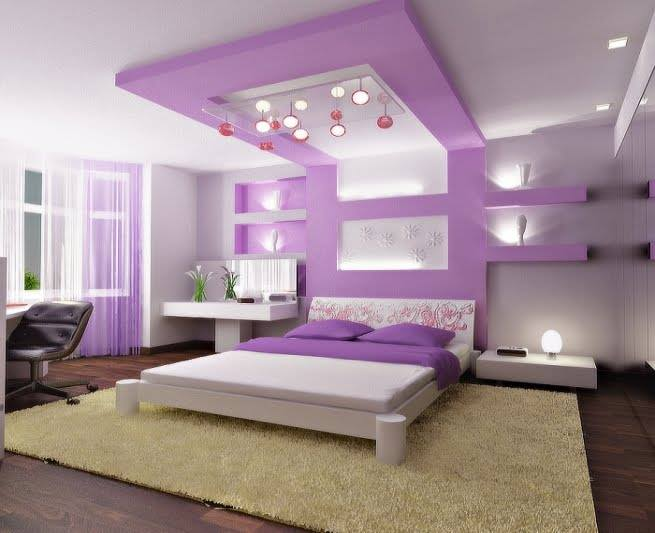 luksozni moderni spalni lilavo