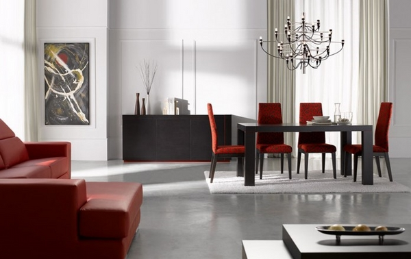 moderni stolove za trapezariq cherveni
