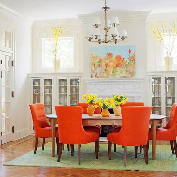stolove za trapezariq moderni oranjev cvqt interior cvetq