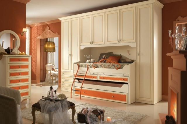 идеи за обзавеждане на детска стая момиче оранжев бял цвят интериор