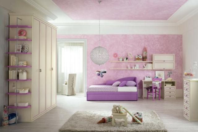 идеи за обзавеждане на детска стая момиче лилав интериор