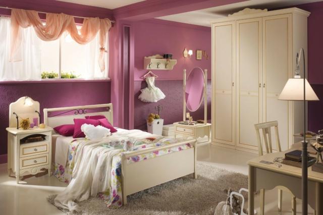 идеи за обзавеждане на детска стая момиче розови стени бели мебели