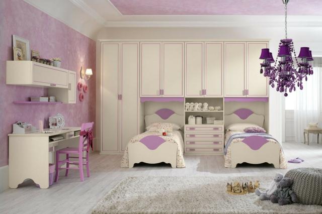 идеи за обзавеждане на детска стая момичета бял лилав цвят