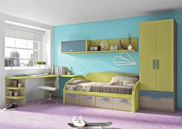 обзавеждане детска стая идея зелен син интериор