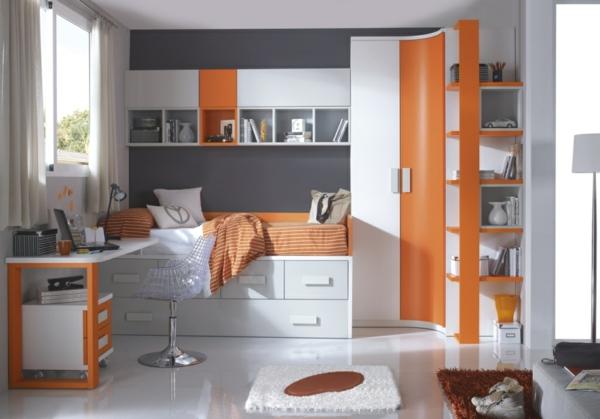 обзавеждане детска стая оранжев бял цвят