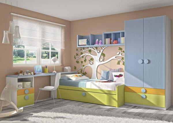 обзавеждане детска стая за момчета рисунка стена дърво