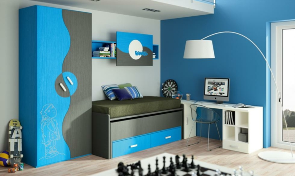 обзавеждане детска стая за момчета син цвят