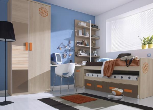 обзавеждане детска стая за момчета синя стена